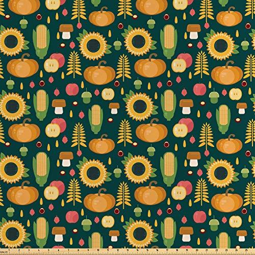 ABAKUHAUS Herbst Satin Stoff als Meterware, Ernte in der Herbstsaison, Zum Nähen Toller Stoff für Heimtextilien Aller Art, 3M (160x300cm), Mehrfarbig - Satin-ernte