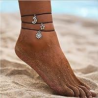 Aukmla Braccialetti alla caviglia a strati Boho Braccialetto a piede di luna nera Braccialetti a piede da spiaggia di…