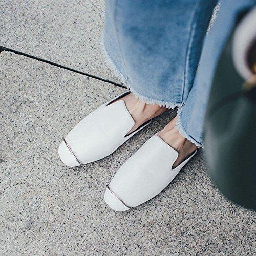 GJDE La Signora Basse Ciabatte Sandali Estivi e Pantofole in Pelle White