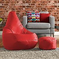 Hi-BagZ® puf y reposapiés a juego Combo–100% fácil cuidado Puff Respaldo Alto Rojo