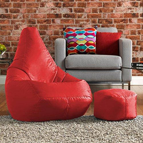 Hi-BagZ Sitzsack- & Fußhocker-Set, pflegeleicht, hohe Rückenlehne, Rot