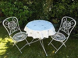 39 (1 M) POUR TABLE RONDE BISTROT NAPPE EN PVC/VINYLE MOTIF POCHOIR MOTIF FLORAL BLANC/NOIR