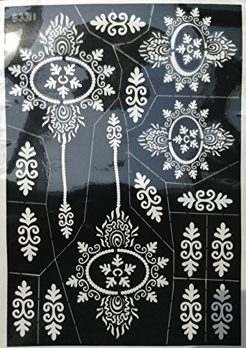 4 Sheets Tattoo Body Art Mehndi Schablonen Henna Designs Set Tally für Körpetbemalung