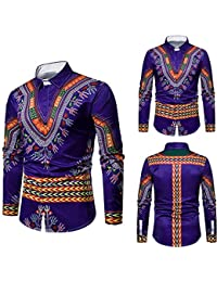 Herren Dashiki Herbst Luxus afrikanischen Print Langarm Dashiki Shirt Top  Bluse ad32a493ff