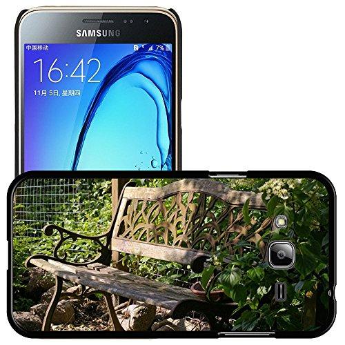Hülle Case Schutzhülle Cover Premium Case // M00290833 Garten-Bank Bank Lehne Sitz Holz // Samsung Galaxy J3 SM-J3109