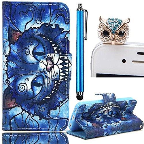 Sunroyal® Custodia per Samsung Galaxy S6 Edge Plus G9280 SM-G928, Libro Stand Case Cover in PU pelle Borsa e Portafoglio Tasca Ultra Sottile TPU Silicon Gel Copertina Chiusura Magnetica Protettiva Con Stilo Penna e Pendente Spina della polvere - Sorriso gatto Blu