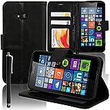 VCOMP® Microsoft Nokia Lumia 640 LTE/ 640 Dual SIM: Etui portefeuille cuir PU Livre rabat support vidéo + stylet - NOIR
