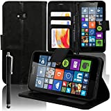 Microsoft Nokia Lumia 640 LTE/ 640 lte doppia SIM/ 640 doppia SIM: Custodia portafoglio cuoio PU A libro falda supporto video + pennino - NERO