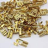 100 Kabelschuh 6,3mm unisoliert blank 0,5 - 1,5 Flachsteckhülse winkel 90° Steckverbinder Klemmen zum crimpen