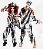 Foxxeo 40140 | Gefangener Zombie Kostüm für Erwachsene | Größe: M, L, XL, XXL, XXXL | Herren Damen blutig Gefängnis Sträfling Halloween Herrenkostüm Damenkostüm Zombiekostüm, Größe:XXL