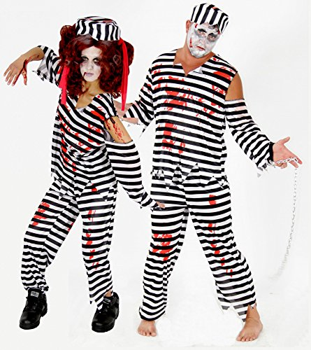 Foxxeo 40140 | Gefangener Zombie Kostüm für Erwachsene | Größe: M, L, XL, XXL, XXXL | Herren Damen blutig Gefängnis Sträfling Halloween Herrenkostüm Damenkostüm Zombiekostüm, Größe:M