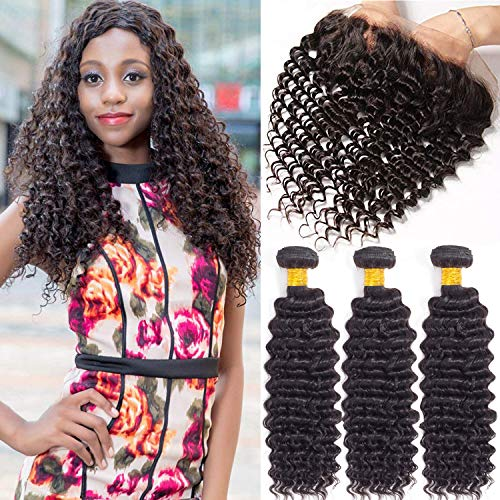 Elee S Hair 10a Virgin Hair Deep Wave Bundles With Frontal Brazilian Hair Bundles With 13 4 Ear To Ear Lace Frontal Human Hair Bundles With Frontal