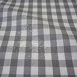 Stoff Meterware wasserdicht Bauernkaro 1cm grau weiß beschichtet Wachstuch Tischdecke