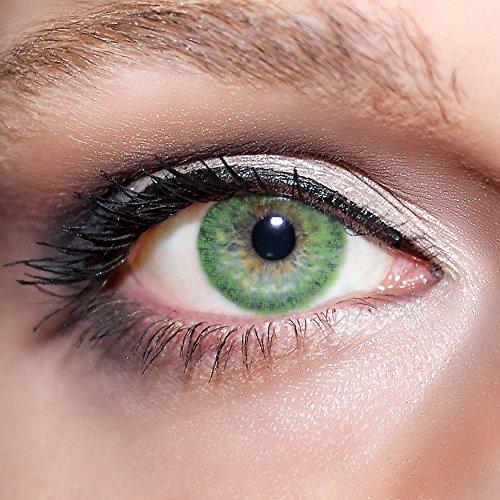 KwikSibs farbige Kontaktlinsen, grün, 1-farbig, weich, inklusive Behälter, BC 8.6 mm / DIA 14.0 / 0,00 Dioptrien (ohne Stärke), 1er Pack (1 x 2 Stück)