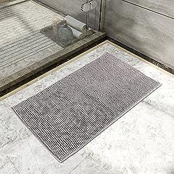 Lifewit Alfombra Multifuncional Antideslizante 50 x 80cm Microfibra Chenille Alfombra de baño Gris