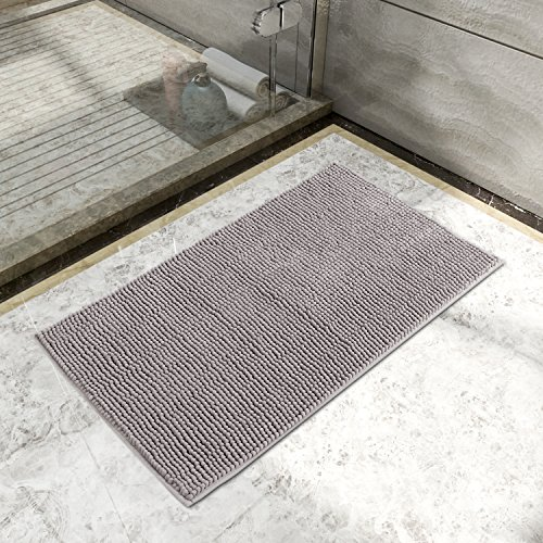 lifewit-non-slip-20x32-microfiber-chenille-bath-mat-bathroom-shower-rug-grey