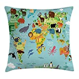 Wanderlust Throw Pillow Cushion Cover, Animal Map of the World for Children and Kids Cartoon Mountains Forests, Decorative Square Accent Pillow Case,Aqua Blue and White 16X16 inches