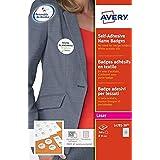 AVERY - Pochette de 150 badges autocollants imprimables pour textile, En polyester blanc, Format 80 x 50 mm, Impression jet d