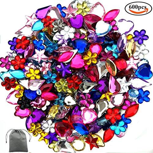 JPSOR 600 Stück Flach Gefäß Acrylat Strass Steine künstlich Strasssteine Schmucksteine, 6 Formen, 6-13mm, gemischte Farben