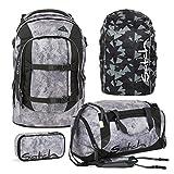 Satch PACK Rock block 4er Set Schulrucksack + Schlamperbox + Sporttasche + Regencape schwarz