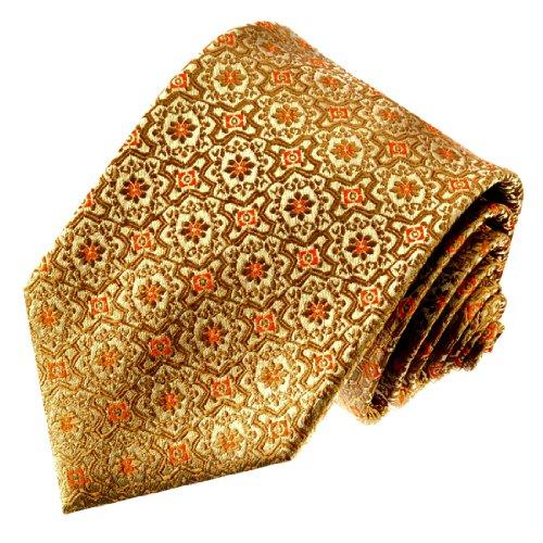 LORENZO CANA - Marken Luxus Krawatte aus 100% Seide - Seidenkrawatte gelb gold ocker Blumen Barock - 42054 (Mantel Anzug Nadelstreifen)