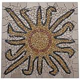 Marmor Rosone 60x60 Sonne Mosaik Einleger Naturstein Rosso Verona Fliesen SUN