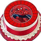 Cannellio Cakes Spiderman Rot-Bordüre, Geburtstag, vorgeschnittener, essbarer Zuckerguss Kuchen Dekoration