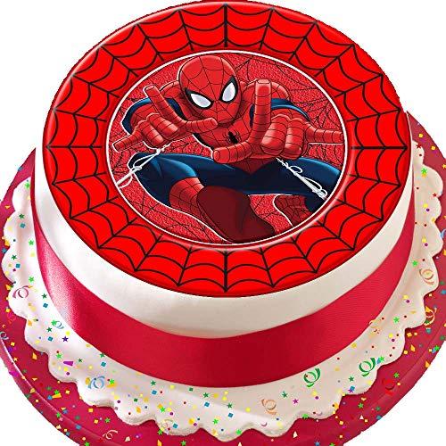 endekoration Spiderman mit rotem Webrand zum Geburtstag, vorgeschnitten, essbar ()