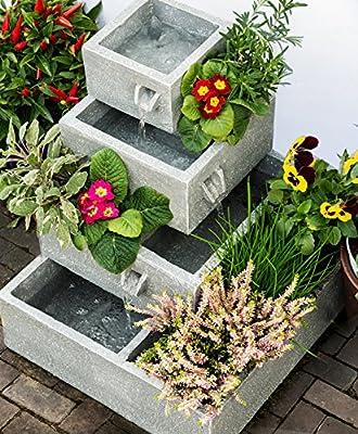 Solaray Gartenbrunnen Solar-Kaskadenbrunnen, 4-Stöckig, Bepflanzbar, Grau, 42cm x 39cm x 39cm von Primrose bei Du und dein Garten