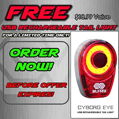 Blitzu USB Wiederaufladbares Fahrradlicht–Gator 390Lumen Scheinwerfer–Vorderlicht & LED Rücklicht Set. Wasserdicht–Radfahren Sicherheits - Taschenlampe für Bergfahrt, Kinder- und Stadtfahrt., blau