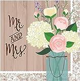 """Creative Converting 16 x2-lagige Servietten, Aufschrift """"Mr. und Mrs."""", für Hochzeiten, rustikale Optik"""