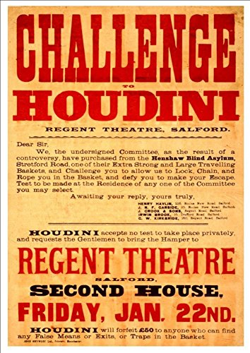 challenge-to-houdini-regent-theatre-salford-england-a4-glossy-vintage-magicians-poster-art-print