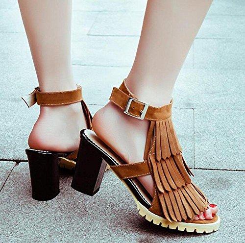 GLTER Frauen Peep Toe Knöchel Strap Pumps Scrub Rough Pantoffeln High-Heel Fringes römischen Sandalen große Größe Schuhe Camel
