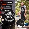 Elani Grillschürze – Premium Verarbeitung für EIN ganz besonderes Männer & Frauen Schürzen Geschenk mit lustigem Grillmeister Motiv - mehrmaliges Waschen & angenehmes Tragegefühl