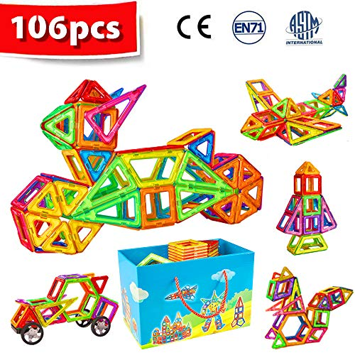 Crenova Magnetic Blocks 106pcs Magnetic Building Blocks Magnetic Construction Set Included Ferris Wheels Carrying Bag Booklet Toys for Kids