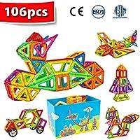 Crenova Magnetische Bausteine 106 Teiliger Bausatz Enthält Riesenrad Aufbewahrungstasche Büchlein Ideales Spielzeug als Geschenk für Kinder