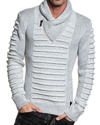 BLZ jeans - Pull blanc maille relief col châle zippé Blanc