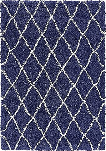 Modern Tribal Plush 4-Feet by 6-Feet (4' x 6') Marrakesh Shag Navy Blue Contemporary Area Rug