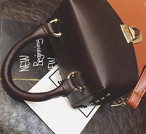 YANX Fashion PU signora Rivet borsa delle signore spalla Tote Bag (14 * 18 * 9 cm) , black Yellow