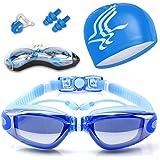 Gafas de Natación, Antiniebla Protección UV Sin Fugas Gafas Natación con Libre Clip de Nariz Enchufe de oído Gorro de baño pa
