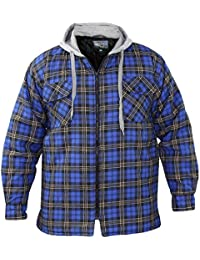 Mens Padded Quilted Lined Lumberjack Check Winter Hooded Workshirt and Jacket