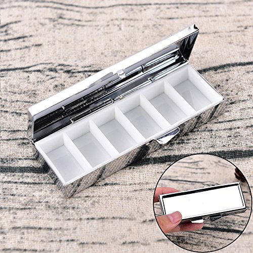 Wuudi Pillendose mit 6 Fächern aus Metall für Reisen, Medizinbox, Kapselhalter, Medikamenten-Organizer (6-fach-perlen-organizer)