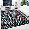 Modern Contemporary Black, Grey, Cream & Red Very Funky Extra Large Rug - cheap UK light shop.