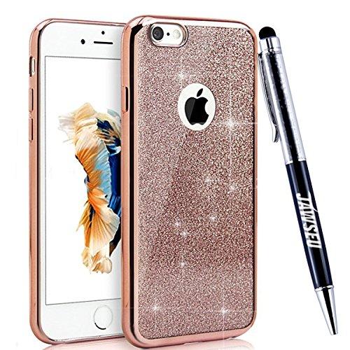 JAWSEU iPhone 6 Plus 5.5 Zoll/6S Plus 5.5 Zoll Diamant Tpu Hülle,Luxus Rose Gold Strass Rahmen Glitzer Weiche Silikon Soft Gel Ultra Dünne Perfekter Schutz Helle Glänzende Strass Tpu Schale Zurück Sch Glitzer,Rose Gold