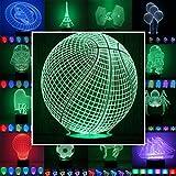 3D Lampe 3D Leuchte 3D LED Stimmungslicht. 7 Farben - 81 verschiedene Motive, hier Basketball ca.21x17cm inkl.Sockel - 3D Illusion Dekolicht mit USB Anschluß und 220V USB Netzteil