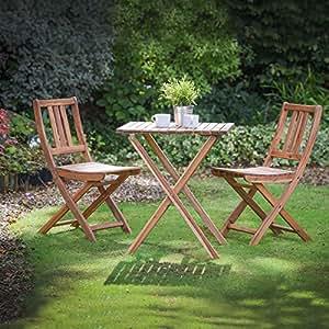 Ensemble table pliante en bois dur Plant Theatre, table de jardin et chaises-Entièrement assemblé