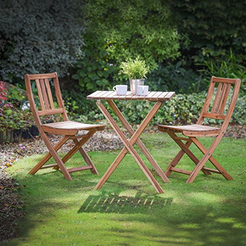 61HZkovWjFL - NO.1 GARDEN Plant Theatre Folding Hardwood Bistro Set, Garden Patio Table & Chairs - Fully Assembled - Superb Quality Best price Review