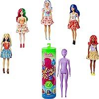 Barbie Color Reveal poupée avec 7 éléments mystère, thème nourriture, 4 sachets surprise, modèle aléatoire, jouet pour…