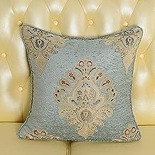 XXCWN-el sofá de la sala rectangular de estilo almohada cojín acolchado de coche sin respaldo cama celebración almohada core.,55x55cm almohadón de brocado azul,cuerda