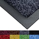 casa pura® Dirt Trapper Door Mat with Matching Rubber Edge - Grey, 85 x 150cm - Non-slip - Multiple Colours Available